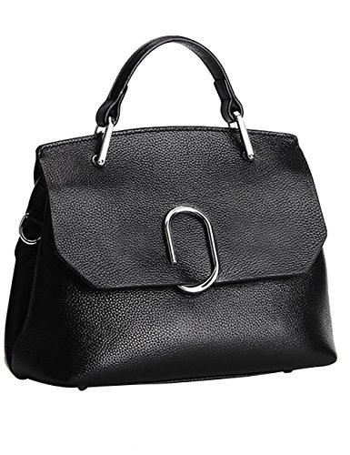 Menschwear Sac à main en cuir véritable avec sac à bandoulière noir et rouge