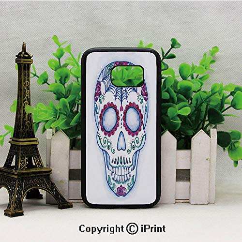Day of The Dead Colorful Skull with Floral Ornament Hand Drawn Doodle Decorative S7 Full Body Protector Shockproof Cover Black Soft TPU and PC Protection Anti-Slippery Case for Samsung S7 Multicolor -