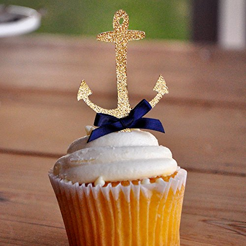 Anchor Cupcake Toppers. Nautical Baby Shower Decorations. 12CT.