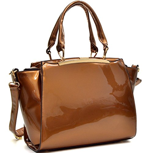 Satchel Crossbody Handbag Fashion Patent Leather Purse w/ Compartments Coffee (Brown Patent Leather Bag)
