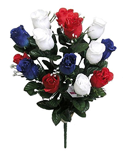 Admired By Nature 14 Stems of Artificial Blossoms Rose Bush for Home Office, Wedding and Restaurant Decoration Arrangement, Red/White/Blue -