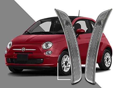 Side Euro Marker Front Clear (DEPO Front Euro Clear Bumper Side Marker Reflector Light fit for 2011-2017 Fiat 500)