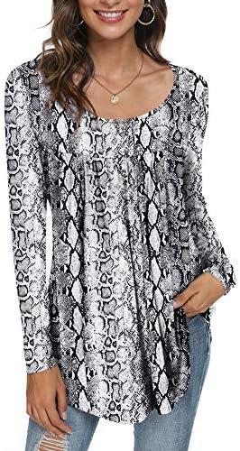 CATHY Women's Casual Long Sleeve Ruffle Tunic Tops Loose T Shirt Blouse for Leggings