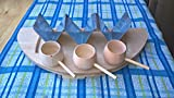 Tacos holder, wooden stand and holder stainles steel, holds 5 tacos