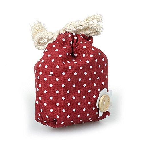TOOGOO(R)Sacchetto Drawstring viaggio organizzatore di immagazzinaggio Carino Polka puntini Fiore Rosso