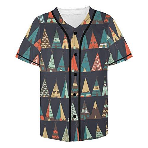 (InterestPrint Men's Tribal Native American Tent Aztec Baseball Jersey T-Shirts Plain Button Down Sports Tee L)