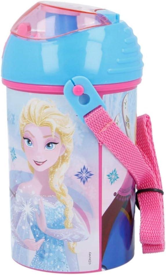 Frozen 450 ml pranzo per bambini borraccia pop up con cordino per il collo per un facile trasporto a scuola
