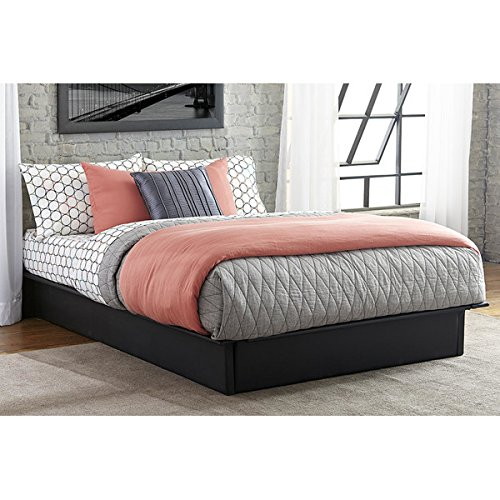Black Platform Bed Upholstered in Faux Black Leather Basic Pedestal Twin Full or Queen Attach Your Own Panel Headboard or Use Alone for Minimal Look (full)