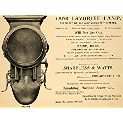 1896 Ad Spaulding Machine Screw Bicycle Lamp Sharpless Watts Bike Accessories - Original Print Ad