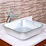 ELITE-Crystal-Glass-Square-Artistic-Silver-Tempered-Glass-Bathroom-Vessel-Sink-Chrome-Waterfall-Faucet-Combo
