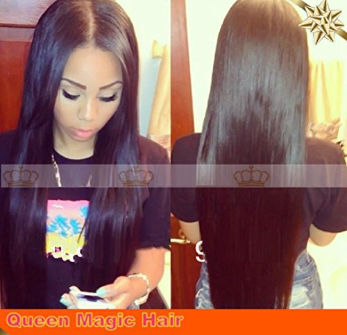 Brazilian Straight Silky Virgin Human Hair Wigs Lace Front Glueless (16inch, Natural blk (Can dye))