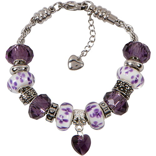 Alexandrite Slide (Timeline Treasures Purple Charm Bracelet With European Bead Charms For Girls, Stainless Steel Rope Chain, Harmony 6.5 Inch)