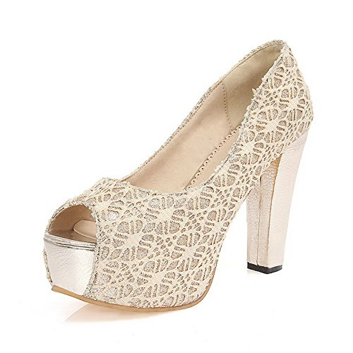 VogueZone009 Women's Pull-on High-Heels Blend Materials Solid Peep Toe Sandals Beige LrxR8lCBu9