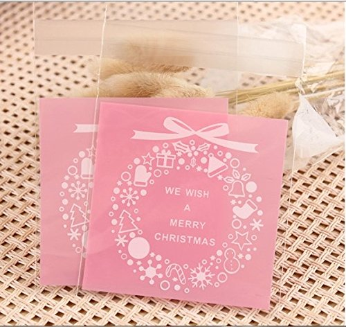 100pcs-christmas-cookie-bags-pink-merry-christmas-cookie-packaging-self-adhesive-plastic-bags-for-bi