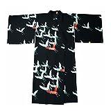 Japanese Style Retro Women Kimono Dress Costume Bathrobe with Waistband, Red-crowned Crane