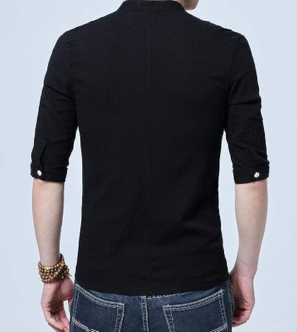 Zimaes-Men Button Down Linen Solid Short Sleeve Slim Fit Classic Shirts