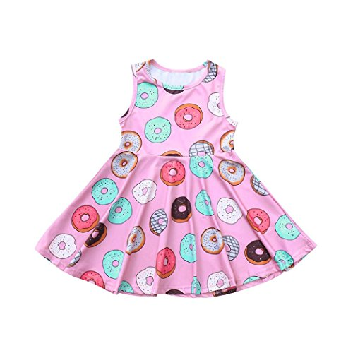 Hatoys Summer Sundress, Infant Baby Kids Girl Sleeveless Ice Cream Casual Outfit Clothes Dresses (4T(Height:115-120CM), Pink)