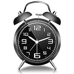 Bell Alarm Clock with Night Light, Gogotool Retro Bell Alarm Clock, Loud Alarm, No Ticking, 4 Inch - Black