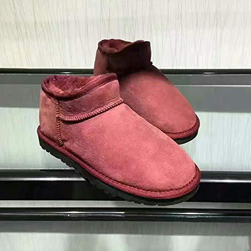 JUWOJIA d'hiver Les Femmes des Bottes d'hiver JUWOJIA La Mode Chaussures en Fourrure Naturelle Chaude 36|Wine Red afa446