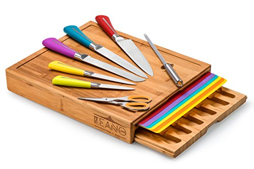 Leano Line 16 Piece All-in-one Large Bamboo Cutting Board with Color Coded Removable Mats and Color Coded Kitchen Knife Set by The Leano Line