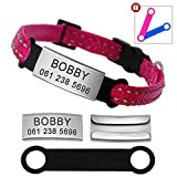 Didog Reflective Breakaway Custom Cat Collars with Stainless Steel Nameplate - No Noise Slideable Engraving ID Tag for Kitten Cats and Small Dogs,Rose/Hot Pink,XS Size