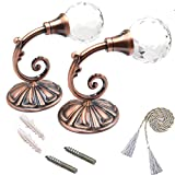 KISENG 1 Pair Clear Crystal Curtain Holdbacks Wall Mounted Tassel Curtain Tieback Hook Multi Use Wall Hook Coat Hanger with Ropes (B)