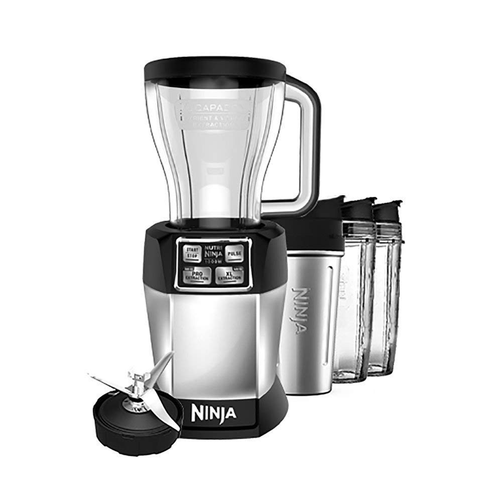 Ninja BL486 Personal Blender 1000-Watt Auto-iQ Base to Extract Nutrients for Smoothies/Juices and Shakes with (2) Stainless Steel 24 oz Cup and (1), 48 oz, Multi Serve Jar