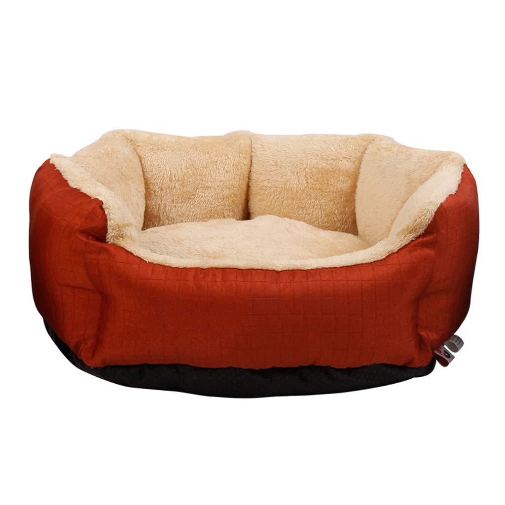 Red L 716522cm Red L 716522cm Kennel QIQIDEDIAN Small Dog Spring Warm Plus Velvet Removable Cat Litter Pet Nest Mat Dog Supplies Pet Bed (color   Red, Size   L 71  65  22cm)