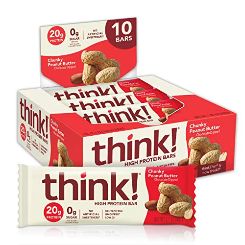 think! High Protein Bars – Chunky Peanut Butter, 20g Protein, 0g Sugar, No Artificial Sweeteners, GMO Free, 2.1 oz bar…