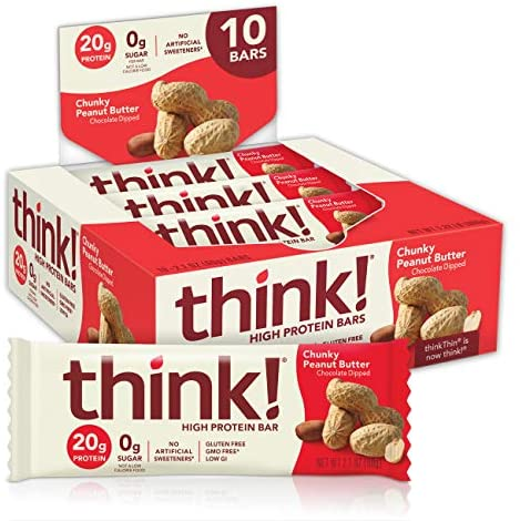 assume! (thinkThin) High Protein Bars - Chunky Peanut Butter, 20g Protein, 0g Sugar, No Artificial Sweeteners, Gluten Free, GMO Free, 2.1 ounces bar (10 Count - packaging might range)