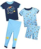 Duck Duck Goose Infant & Toddler Boys 4-Piece Snug Fit Summer Pajama Set, Starship, 12 Months'