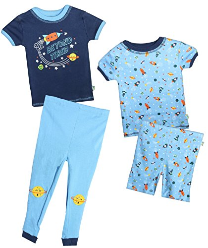 Duck Duck Goose Infant & Toddler Boys 4-Piece Snug Fit Summer Pajama Set, Starship, 12 Months' by Duck Duck Goose