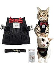 Bolbove Cute Kitty Bowtie Breathable Mesh Vest Harness and Leash Set for Cats (Medium, Black)