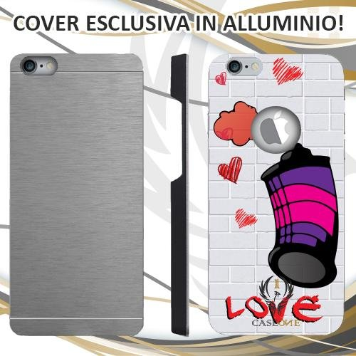 CUSTODIA COVER CASE CASEONE GRAFFITI AMORE PER IPHONE 6 PLUS IN ALLUMINIO