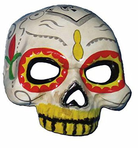 HMS Women's Day Of The Dead Half Face Mask, White, One Size (Day Of The Dead Mask For Sale)