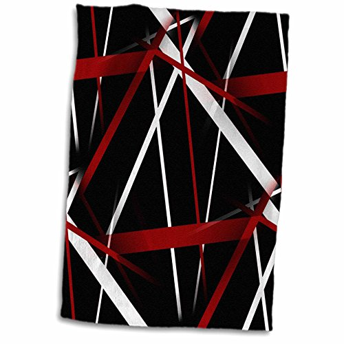 3dRose Seamless Red and White Stripes on A Black Background