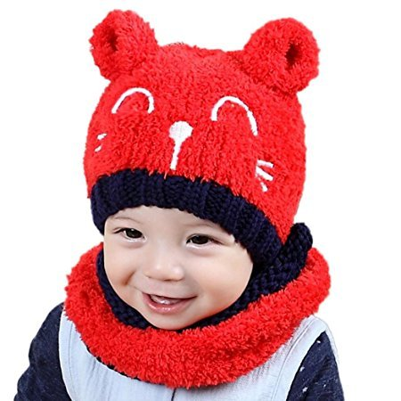 Chilie Baby Hat Soft Lovely Cat Smiling Face Knitted Earflap Hood Scarves Skull Cap Scarf Two Piece Sets for Toddler Boy Girl Kids Red