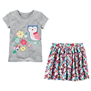 Carter's Toddler Little Big Girl's Short Sleeve Shirt and Skort Skirt Set (6-6x, Grey and Floral Owl)
