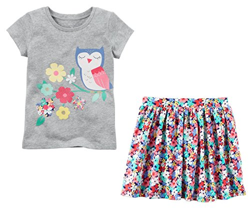 Carter's Toddler Little Big Girl's Short Sleeve Shirt and Skort Skirt Set (6-6x, Grey and Floral - Skort Carters Set
