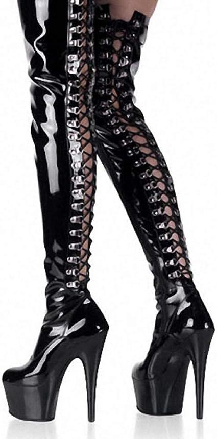 Knee Gothic Boots Black Platform Boots