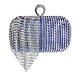 Fringe Evening Bag Ladies Fashion Rhinestone Handbag Banquet Evening Bag,Elegant Handbags For Parties And Wedding Occasions,With Long Chain Shoulder Strap,Blue,Onesize