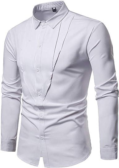 Sencillo Vida Camisas Blancas Hombre Manga Larga Camisas de Hombre de Vestir Color Sólido Delgada Slim Fit Camisa Hombres Casual Formales Clásico Cuello de Solapa con Botones: Amazon.es: Ropa y accesorios
