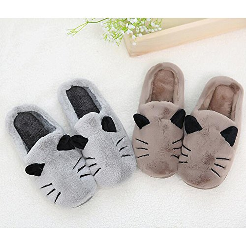 Eastlion Cartoon Cat Home Unisex Slippers Couples Fashion Warm Indoor Plush Slippers Male Grey YnIWP0j7Wa