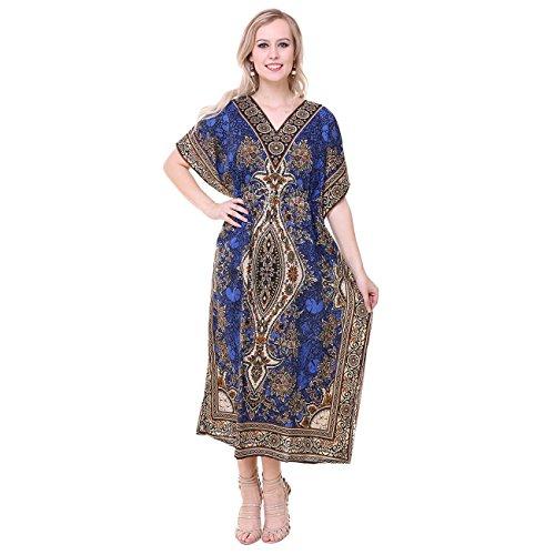 Royal Essentials-Tribal-Ethnic-Print-Kaftan Womens Dress (Blue)