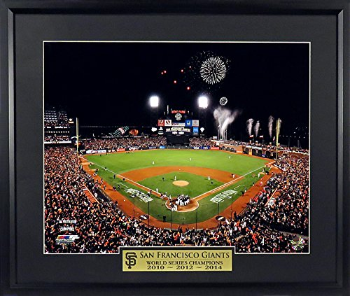 "SF Giants AT&T ""Champions"" 11x14 Photograph with World Series Champions 2010/2012/2014"" Floating Plate Framed"
