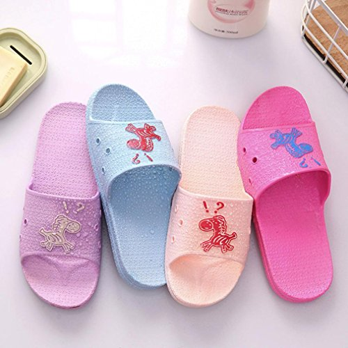 hunpta Slippers, Fashion Summer Animal Prints Sandals Anti-Slip Flat Bath Slippers For Female Hot Pink