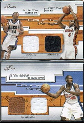 2002-03 Flair Court Kings Game Used Dual #EJSerial #'d/RA Eddie Jones Ray Allen Jersey Card Serial #'d/250