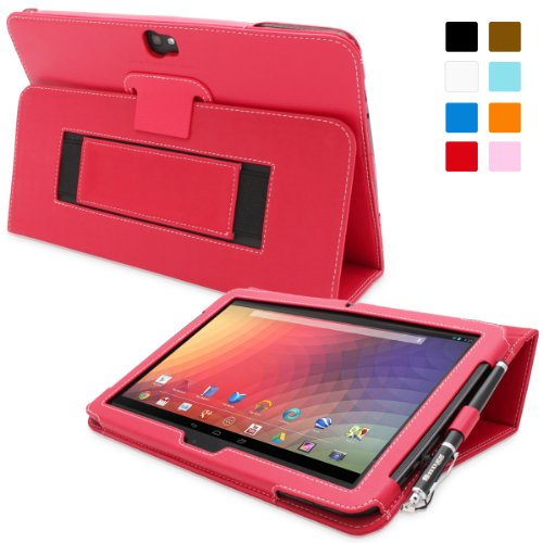Nexus 10 Case, Snugg - Red Leather Smart Case Cover Google Nexus 10 Protective Flip Stand Cover with Auto Wake/Sleep