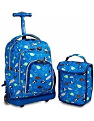 J World Lollipop Rolling with Cushioned Shoulder Straps and Lunch Bag, Sea World