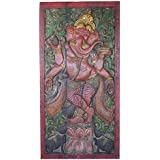 Meditation Yoga Barn Door Vintage Carved Ganesha Remove obstacles, Wall Sculpture, Panel eclectic Decor